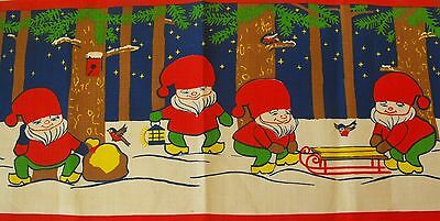 Vintage Swedish Christmas hand printed wall hanging Elves signed Hill 60s