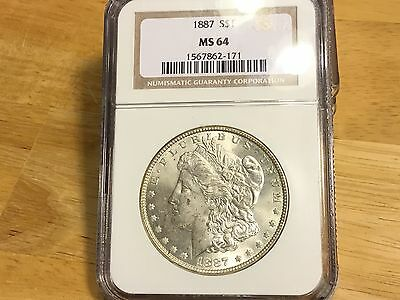 1887 Morgan Silver Dollar NGC MS64 FREE SHIPPING!! BEAUTIFUL TONED!