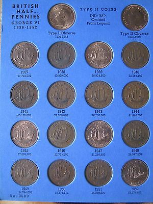 UK Half Penny 34 Coin Collection set collection 1937 - 1967 in Whitman folder