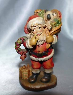 """ANRI Wood Carving SARAH KAY Collection SANTA WITH WREATH TOYS 4"""" Very HTF"""