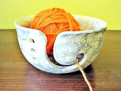 Large Ceramic Yarn Bowl, Pottery knitting bowl, White with bubble design