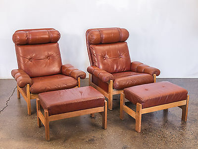 Pair of Scandinavian Danish Modern Tufted Chestnut Lounge Chairs with Footstools