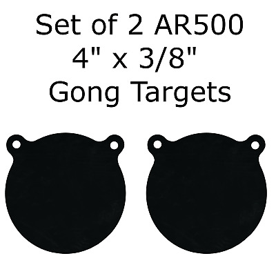 "Set of 2 AR500 Steel 4"" x 3/8"" Shooting Targets Gong Style"