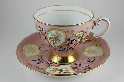 Vintage Tuscan Pink Gold Black White Leaf Teacup / Saucer Set Bone China England