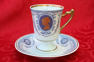 Pedestal Blue Cameo Gold Espresso Turkish Coffee Cup & Saucer