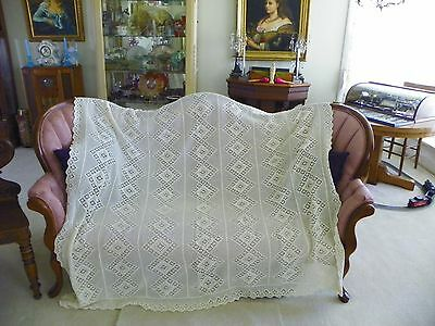 "Antique Hand Crocheted.  Coverlet Off White 69"" X 80"""