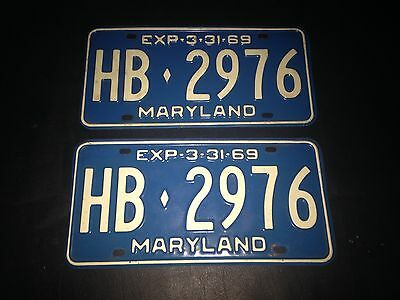 1969 Maryland License Plates
