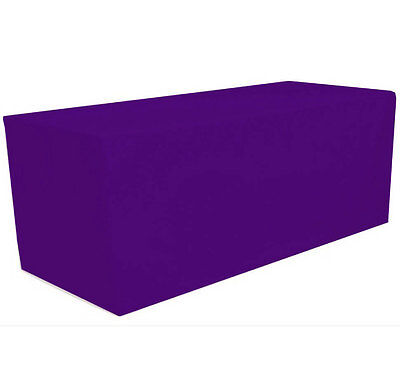 6' ft. Fitted Polyester Tablecloth Table Cover Wedding Banquet Party Purple