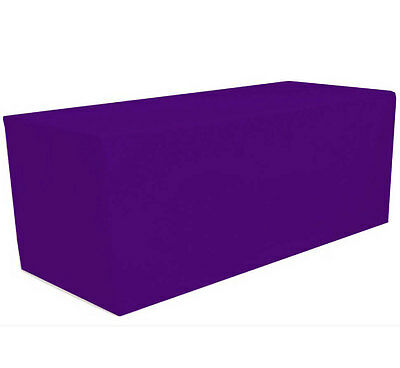 8' ft. Fitted Polyester Tablecloth Table Cover Wedding Banquet Party Purple