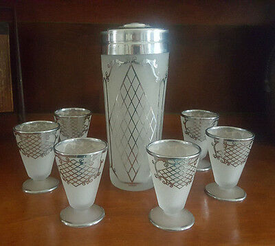 Art Deco Sterling Silver & Frosted Barware Shaker & Glasses