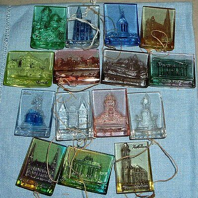 Complete Set of 16 WHW Glass Famous Monuments Tinnies from 1942 - C/A p 80