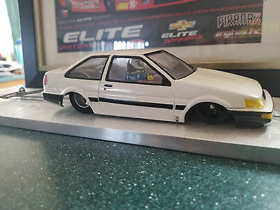 Drag Race Slot Car Toyota Levin Ae86 Top Stock Esr Chassis, Hawk Motor 110G