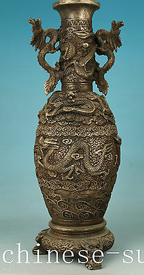 12inch high Chinese Copper Plating Silver Casting Dragon Statue vase Decoration