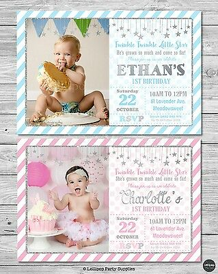 Twinkle Little Star 1St First Birthday Party Invitation Invite Card Blue Silver