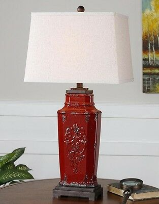 "French Country Red Distressed Ceramic Old World Tuscan Table Lamp 31""H"
