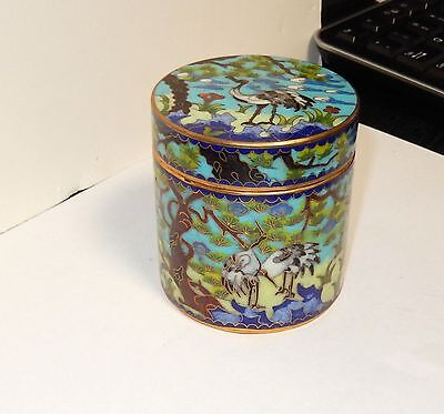 Chinese Crane Birds Cloisonne Enamel Trinket Humidor Canister Jar Box