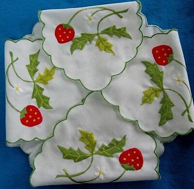 Vintage White Linen Roll Biscuit Cover, Embroidered Red Strawberries, Laundered