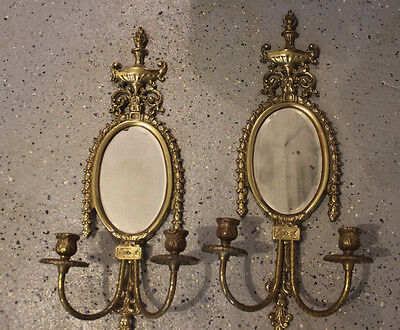 Nice Pair Of Antique Brass Neoclassical Mirror Candle Sconces