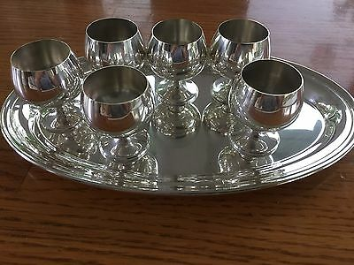 Vintage Gorham Sterling set of 6 cordial mini goblets with serving tray