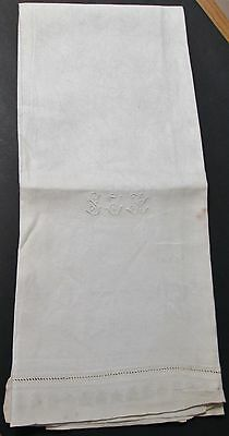 Antique Linen Damask Bath Towel S J B Monogram W Millmarks Never Used Art Deco