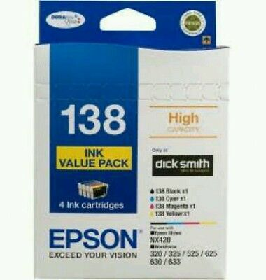 Epson 138 Genuine Value Pack Set of 4x Ink + Photo Paper - Free postage - New