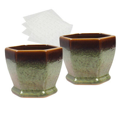 Happy Bonsai Small Glazed Pots Value 4 Soft Mesh Drainage Screens Mini Round