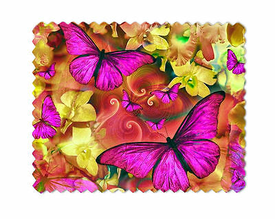 Pink Butterflies Microfiber Lens Glasses Cleaning Cloth