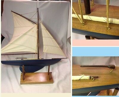 "Vintage Wood Gaff Rigged Pond Boat Large Sailboat Ship w/ Stand 28""H x 24""W"