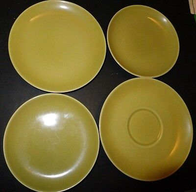 Russel Wright Plate Saucer Avocado / Chartreuse (4pc) lot Iroquois Casual China