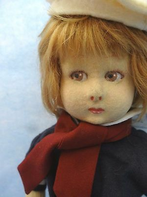 "1920's 13"" Felt Lenci Doll Dressed in Replaced Felt Sailor Outfit, Small Flaws"