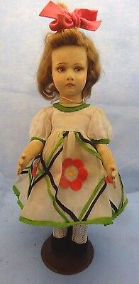 "18"" Lenci 110 Series, Organdy and Felt Dress - VG Condition, Some Dust on Face"