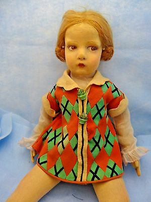 "Lenci Felt #109 23"" Doll With Pieced Dress, Good Condition with One Flaw, S@@"
