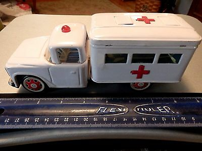 Vintage Tin Friction Ambulance - 8 3/4 Inches Long - Opening Doors Made In China