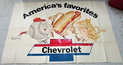 Vintage 1970's Chevrolet Dealer Showroom Poster America's Favorites Patriotic GM