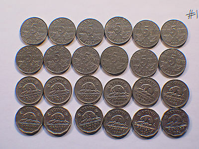 Canada 5c  Five Cents,  Nickel, Canadian Lot #1 (Qty 24 Nickels)