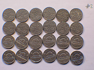 Canada 5c  Five Cents,  Nickel, Canadian Lot #2 (Qty 24 Nickels)