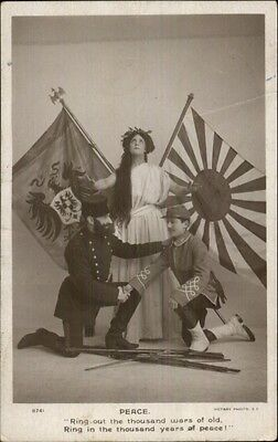 Russo/Russian Japanese War PEACE Flags Soldiers & Woman Real Photo Postcard