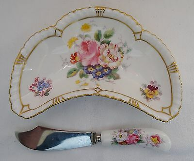 ROYAL CROWN DERBY pattern POSIES lot 3 pcs spreader crescent dish round dish