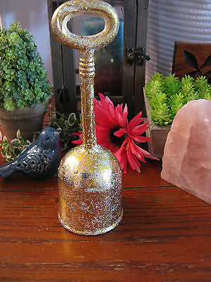 New Large Country French Old World Style Goldtone Cast Iron Decorative Bell