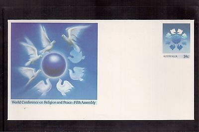 Australia 1989 Postal Stationary Cover, World Conference On Religion & Peace !!