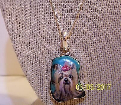 Hand Painted Yorkie Turquoise 100% Solid 925 Sterling Silver Setting, Bail&chain