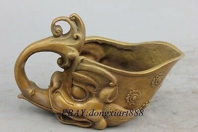"""4"""" Old China Bronze Ware Iion Beast Flower Wine Glass Drinking Cup Container"""