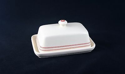 Laura Ashley Cream Butter Dish with red pattern rim and flower motiff