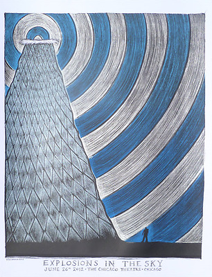 Explosions In The Sky Chicago Theater Poster Dan Grzeca Il 6/26/12 S/n 175