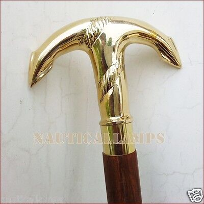 Solid Brass Maritime Anchor Nautical Vintage Designer walking Cane Wooden Stick