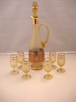 Vintage Stunning Gold Cordial/sherry/wine Decanter With 6 Stemmed Glasses Exc.