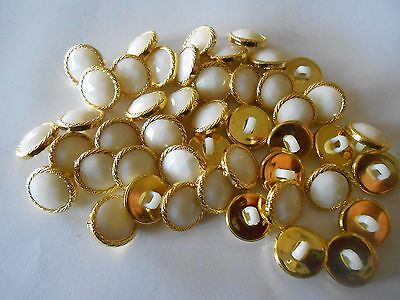 M66/2 * 100 Gold & Cream Colour Sparkle Resin Shank Buttons * New & Unused *13Mm