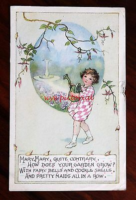 Posted 1931 Sweet Art Postcard As Mmh Nursery Rhyme Mary Mary Quite Contrary