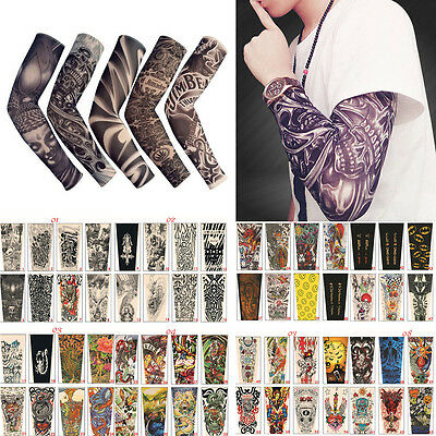6PCS Cooling Tattoos Cover UV Sun Protection Basketball Golf Sport Arm Sleeves