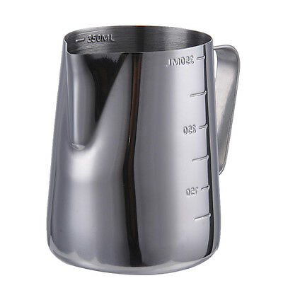 Milk Jug Frothing Cup Pitcher Stainless Steel Latte Cappuccino Hot Drink 350ml
